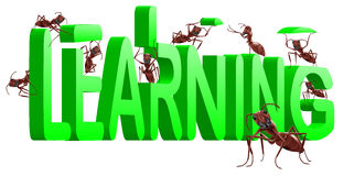 Formigas que constroem a aprendizagem da palavra 3d ilustração stock