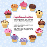 Forming a frame Cupcakes Stock Images