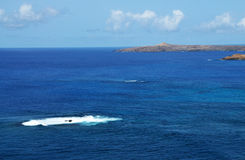 The forming of an Islet. Small islet begins to form in the ocean near the bigger islet of Djeu in Cabo Verde stock photo