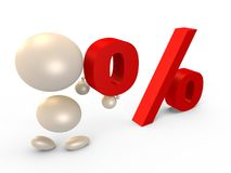 Forming the percent sign, left view - 3D image Royalty Free Stock Photography