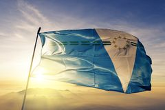 Formosa province of Argentina flag textile cloth fabric waving on the top sunrise mist fog. Beautiful stock image