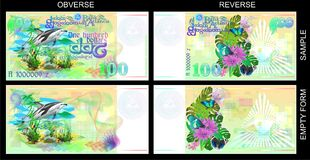 Forms for gift certificates. Funny banknotes of Atlantis. Gift certificate, Voucher, Coupon template with colorful rainbow guilloche pattern watermark Royalty Free Stock Photography