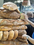 Forms of homemade bread on one another Stock Photos