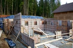 Forms of house foundation Stock Photography