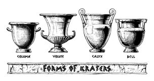 Forms of kraters. Greek vessel shapes. Stock Photo