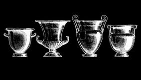 Forms of kraters. Greek vessel shapes. Vector hand drawn sketch of ancient greek vases set in ink hand drawn style. Forms of craters: column krater, volute Royalty Free Stock Photography