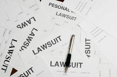 The forms of the lawsuit is on the table stock photos