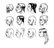 Forms of a male and female face stock illustration