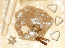 Forms of metal rolling pin flour cinnamon xmas Stock Photography