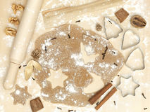 Forms of metal rolling pin flour cinnamon xmas Royalty Free Stock Photography
