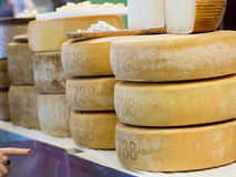 Forms of pecorino cheese for sale. Large forms of pecorino cheese for sale Stock Photos