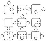 Forms of puzzles. Profiles of blacks puzzles with various forms Stock Image
