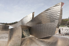 Forms of titanium Guggenheim Museum in Bilbao, Spa. The Guggenheim Museum Bilbao is a registered trademark and that any use, commercial or non-commercial, needs Stock Images