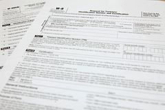 Forms W-8BEN and W9 Stock Images