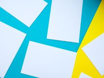 Forms white to yellow and blue background, bright colours, empty space for text.  stock images