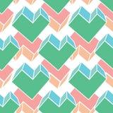 Formt geometrisches nahtloses Vektoroberflächenmuster des Vektors 3D mit Herzen abstrakten Täfelungsdekorhintergrund in Grünem un vektor abbildung