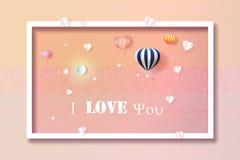 Formte glücklicher Liebeshintergrund des Valentinstags mit Herzen und Ballonen stockbilder
