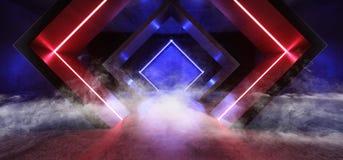 Formte glühendes Purpur-Blau Rauch-Neonlicht-Dreieck Sci FI Leuchtstoff Retro- modernes elegantes ausländisches Raumschiff-dunkle lizenzfreie abbildung
