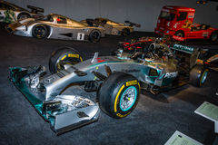 Formuła Jeden bieżnego samochodu Mercedez F1 W01 hybryd, 2014 fotografia stock