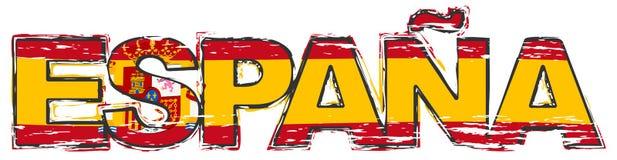 Formułuje ESPANA Hiszpańskiego przekład HISZPANIA z flagą państowową pod nim, zakłopotany grunge spojrzenie ilustracja wektor