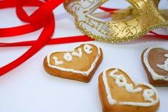 Słowo miłość na ciastkach Obraz Stock