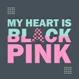 Formułuje motywacja plakat, mój serce jest czarnymi menchiami Modny Memphis typografii geometryczny styl ilustracja wektor