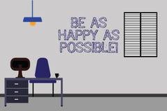 Formułuje pisać tekscie Był Równie Szczęśliwy Jak Ewentualny Biznesowy pojęcie dla pobytu motywował inspirowanego szczęście Work  royalty ilustracja