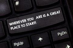 Formułuje pisać tekscie Gdziekolwiek Ty Jesteś Jesteś Great Place Zaczynać Biznesowy pojęcie dla Zaczynać dzisiaj jutro klawiatur obraz royalty free