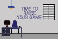 Formułuje pisać teksta czasie Podnosić Twój grę Biznesowy pojęcie dla Był konkurencyjnymi akcjami zostać zwycięzcą Work Space ilustracji