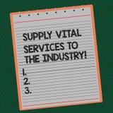 Formułuje pisać tekstowi Zaopatrzeniowe Zasadnicze usługi przemysł Biznesowy pojęcie dla źródło zasilania dla firma Wykładającej  zdjęcia royalty free