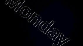 Formułuje Poniedziałek sunie wolno na czerni i siwieje tło Słowo Poniedziałek rusza się dyagonally na czerni i popielatym tle zbiory