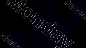 Formułuje Poniedziałek, Wtorek, Środy animacja Animowany filmu tekst - Poniedziałek, Czwartek, Środa na czarnym tle royalty ilustracja