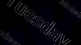 Formułuje Poniedziałek, Wtorek, Środy animacja Animowany filmu tekst - Poniedziałek, Czwartek, Środa na czarnym tle ilustracji