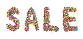 Formułuje sprzedaż tworzącą kolorowi confetti odizolowywający nad bielem Zdjęcia Stock