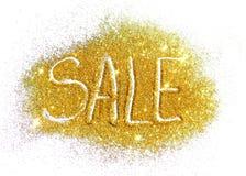 Formułuje sprzedaż złota błyskotliwość na białym tle zdjęcie royalty free