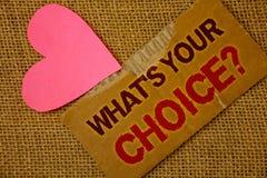 Formułuje writing tekst Jaki S Twój Wyborowy pytanie Biznesowy pojęcie dla opci decyzi Wolał Poglądowa preferencja Drzejącego gęs Fotografia Stock
