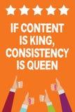 Formułuje writing tekst konsystencja, Jest królową Jeżeli zawartość Jest królewiątkiem Biznesowy pojęcie dla strategii marketingo royalty ilustracja