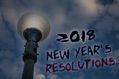 Formułuje writing tekst 2018 nowy rok 'S postanowienia Biznesowy pojęcie dla listy cele lub cele być dokonującym Lekkim poczta bł Zdjęcie Stock