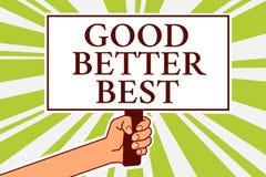 Formułuje writing teksta Dobrego Lepszy Najlepszy Biznesowego pojęcie dla Przyrostowego ilości ulepszenia osiągnięcia doborowości ilustracji