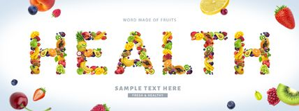 Formułuje zdrowie robić różne owoc i jagody zdjęcie royalty free