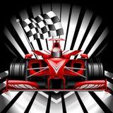Formuły 1 Czerwony samochód wyścigowy z W kratkę flagą na Czarnej tło wektoru ilustracji royalty ilustracja