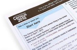 Formulário 2010 de recenseamento Foto de Stock