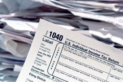 Formulário americano 1040 do serviço de receita fiscal Fotos de Stock Royalty Free