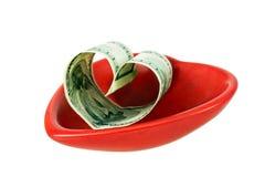 Formulário americano do dinheiro um coração Foto de Stock Royalty Free