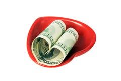 Formulário americano do dinheiro um coração Imagem de Stock Royalty Free
