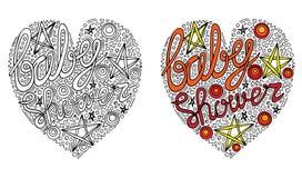 Formulário colorido do coração do vetor com texto da festa do bebê para o livro para colorir ilustração royalty free