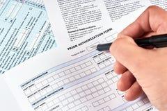 Formulário da autorização prévia fotos de stock