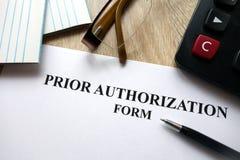 Formulário da autorização prévia foto de stock