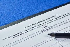 Formulário da avaliação de desempenho fotografia de stock
