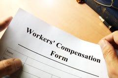 Formulário da compensação dos trabalhadores imagens de stock
